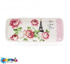 Блюдо керамическое прямоугольное Розы