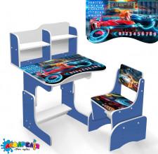"""Парта шкільна """"Машины"""" ЛДСП ПШ 040 (1) 69*45 см., колір синій, + 1 стілець"""