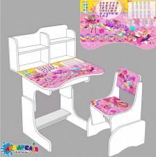 """Парта шкільна """"Супер Барбі"""" ЛДСП ПШ 002 (1) 69 * 45 см колір білий + 1 стілець"""