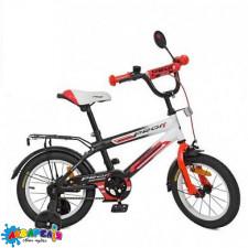 """Велосипед 14 """"PROF1"""" INSPIRER, чорно-біло-червоний, дзвінок, додаткові колеса"""