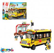 Конструктор Qman 1136 місто, шкільний автобус, фігурки, 440 дет., кор., 41-29,5-6,5 см.