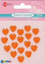 Набір кристалів самоклеючих сердечка помаранчеві, 18 шт