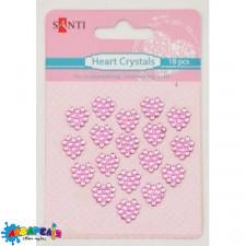 Набір кристалів самоклеючих рожеві сердечка, 18 шт