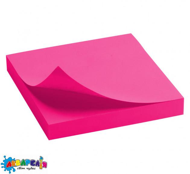 Блок паперу з клейким шаром Delta 75x75 мм 100 арк. яскраво-рожевий