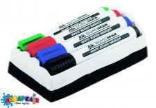 Комплект з 4 маркерів і губки для магнітних дошок