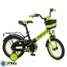 """Велосипед 14 """"PROF1"""" ORIGINAL, зелено-чорний (мат.),звонок,доп.колеса"""
