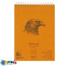 Альбом для ескізів А5 60 арк. на спіралі AUTHENTIC (Kraft) 90 г/м2 коричневий колір ROSA SMILTAINIS