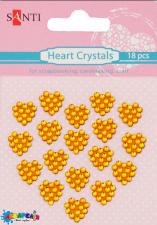 Набір кристалів самоклеючих жовті сердечка, 18 шт