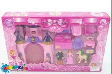 Домик CB688-1 (1111028)(48шт/2)св/муз,принц,принцесса,конь,мебель(трюмо,кухня…), в кор.39,5*6,5*25см