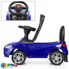Каталка-толокар M 3147A-4 гум. покр. колеса, світло, муз., бат., синій.