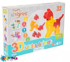 Tigres Іграшка розвиваюча: 3D пазли - Тваринки (4шт.) - 32 ел.