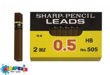 Грифелі для механічних олівців HB 0,5 h-6 см.12 в упаковці